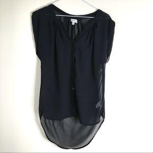 Olsenboye Hi-Lo Curved Hem Semi Sheer Blouse
